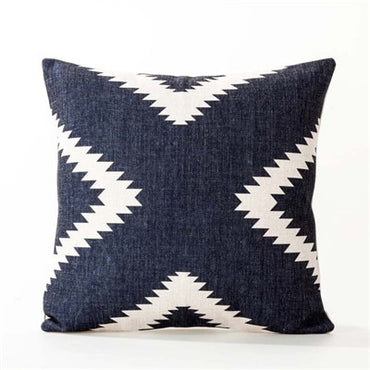 Nordic Blue Sofa Cushion Case LinenBohemian Ethnic Decoration Geometric