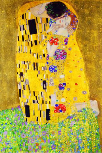 Famous Figure Painting Gustav Klimt Kiss Canvas Paintings Wall Art Picture