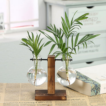 Vintage Style Glass Desktop Plant Bonsai Flower Decoration Vase with Wooden Tray