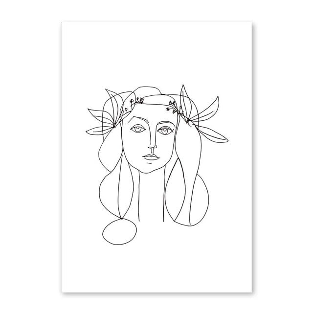 Abstract Women Line Drawing Nordic Poster&Prints Modern Canvas Painting Wall Art