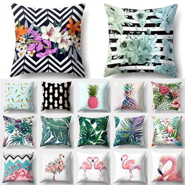 Tropical Flamingo Pineapple Throw Pillow Sofa Decorative Cushion
