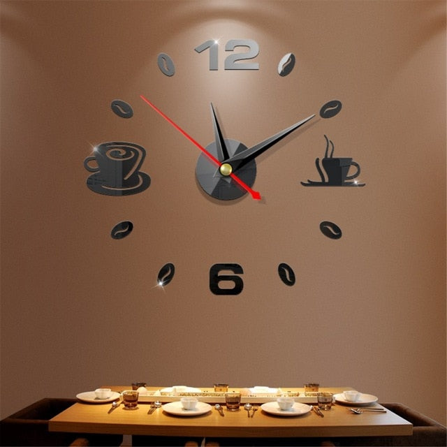 Modern 3D Mirror Sticker Art Design Decorative Wall Clock