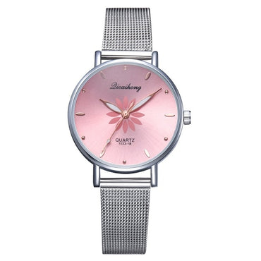 Women's Luxury Silver Pink Dial Flowers Metal Bracelet Quartz