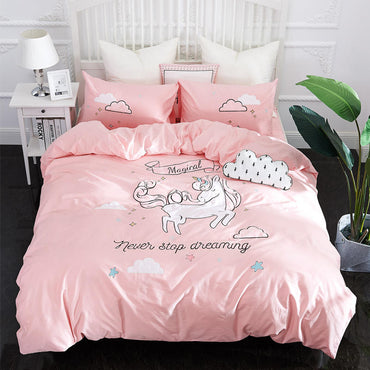 Cute Unicorn Embroidery Linen Bedding Set Twin King Queen Size
