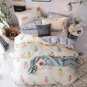 Cartoon Flowers Twin Full Queen King Size Bedding Set