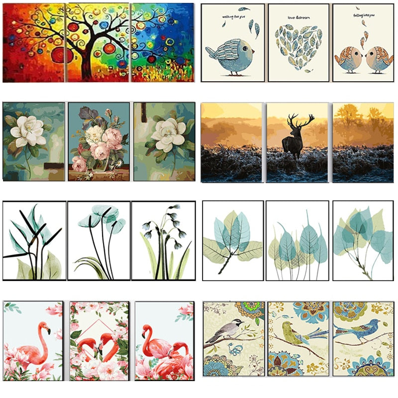 Oil Painting Flowers Triptych Modular Coloring Picture Deer Abstract Wall Art