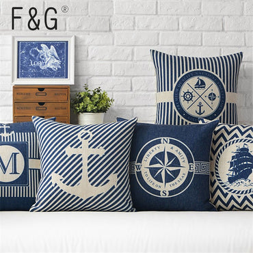 Coussin Scandina Ocean Sea Ship Anchor Blue Stripe Compass Boat Cotton Linen Pillow Case Home Sofa Decoration