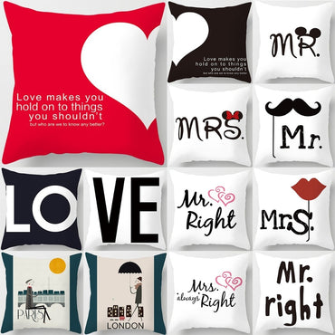 Love Couple Pillow Case Letter Mr and Mrs Decorative Cushion