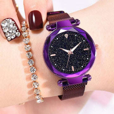 Luxury Women Starry Sky Magnetic Waterproof Luminous Wristwatch