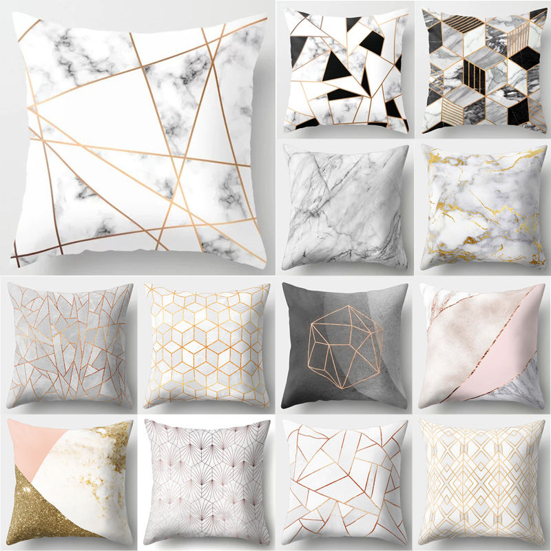 Brief Marble Geometric Sofa Decorative Cushion Case Top Quality Material