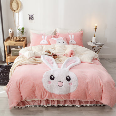 Cute Cartoon Fleece King Queen Twin Size Bedding Set