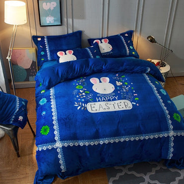 Luxury Flannel Cartoon Cat Queen Size Linen Bedding Set