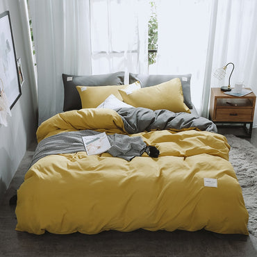 Luxury European and American Style Solid Color Double-Stitched Cotton Bedding Set