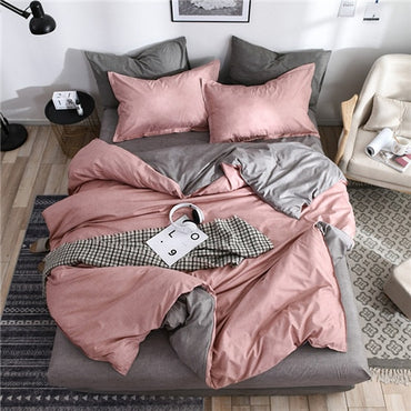 New Fashion AB Side Solid Simple Modern Style King Queen Full Twin Linen Bedding Set