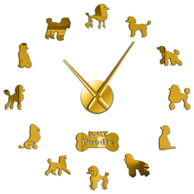 Poodle 3D Dog Club Fashion Decoration With Cute Bone Animals Store Ornament Wall Clock