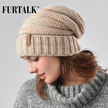 Premium Quality Women Winter Knitted Hat Fashion Brand Slouchy Beanie