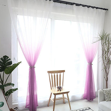 3D Printed Sheer Tulle Drapes Treatment Voile Curtains