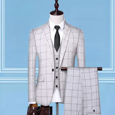 Premium Quality Men Formal Suit Set with Vest and Pants 3 Pieces Fashion Slim England Style