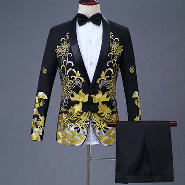 Luxury Design Men Suit 2 Pieces Set Fashion Embroidered Slim Fit Party Formal Dress Suit