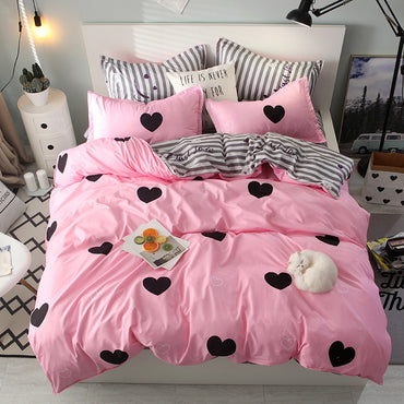 Pink Color Heart Printed Linen Single Double Queen King Size Bedding Set