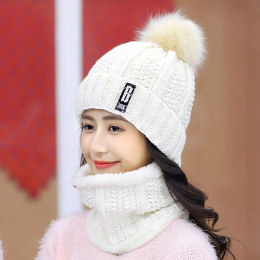 Cute Sweet Women Winter Knitted Beanie Thick Warm Handmade With Neck Scarf