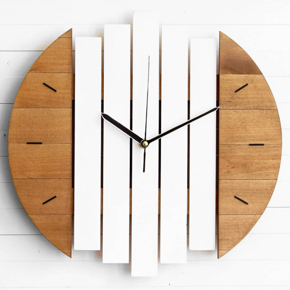 Slient Xylophone Wooden Wall Clock Modern Design Vintage Rustic Shabby Clock