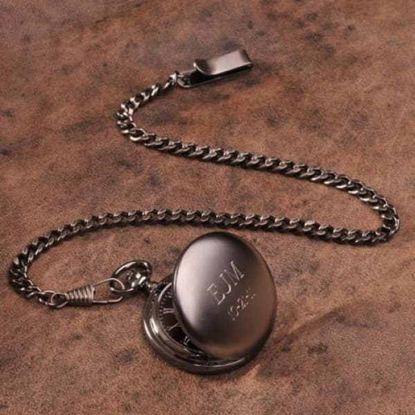 2e8293974 Personalized Pocket Watch - Set of 5 - Gunmetal - Groomsmen - Executive  Gifts. Hover to zoom