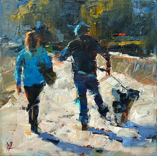 William Liao Art Dog Walking | Available at artfully.ca