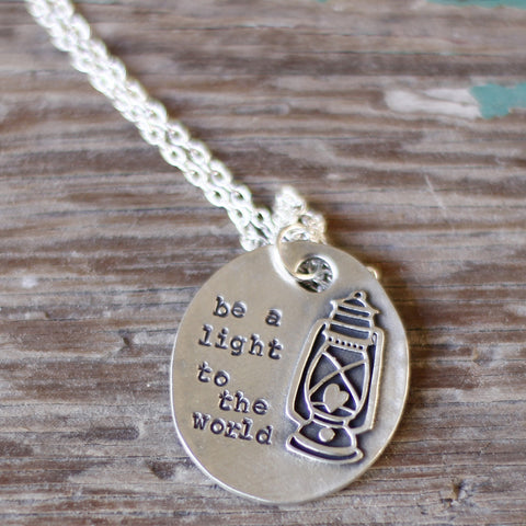 Hand Stamped Lantern Necklace Be A Light