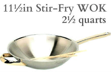 Load image into Gallery viewer, CLOSEOUT SALE 11½in Stir-Fry WOK 2½qts w/24k Gold Plated Handles Made in USA