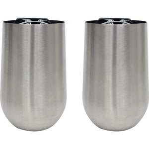 CLOSEOUT SALE - 2PC TWIN PACK 16oz WINE TUMBLERS 304 Stainless Steel Double-Wall with BPA-Free Acrylic Lids by XPAC