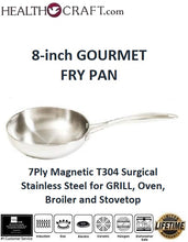 Load image into Gallery viewer, 7Ply 8-inch GOURMET FRY PAN T304 Magnetic Surgical Stainless Steel  for GRILL, Oven, Broiler and Stovetop