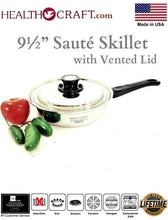 Load image into Gallery viewer, RECONDITIONED 9½-inch Sauté Skillet w/Vented Lid Nicromium Surgical Stainless Steel Made in USA