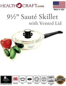 RECONDITIONED 9½-inch Sauté Skillet w/Vented Lid Nicromium Surgical Stainless Steel Made in USA