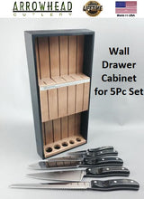 Load image into Gallery viewer, Vintage 5-piece Kitchen Cutlery handmade Maplewood wall or drawer cabinet.  Made in USA