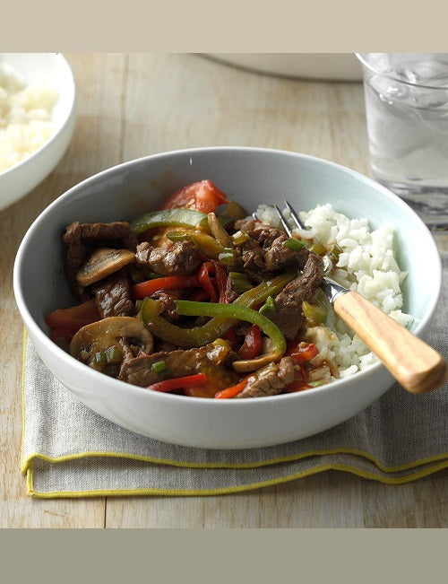 Beef Skillet Casserole with Peppers, Onions and Mushrooms