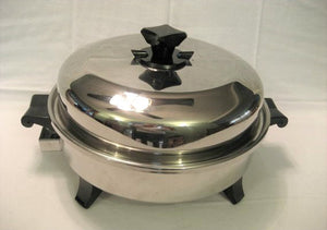 CLOSEOUT 1 LEFT 12in Oil Core Electric Skillet w/ Vented Dome Lid USA - Reconditioned