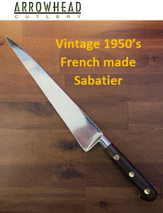 Vintage 1950's French made Sabatier 14-inch forged Chef Knife with 9-inch blade olive wood handles, brass rivets and Leather Sheath.