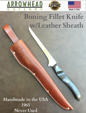 Load image into Gallery viewer, 1 LEFT EKCO Arrowhead BONING FILLET KNIFE w/Leather Sheath - Handmade USA 1965