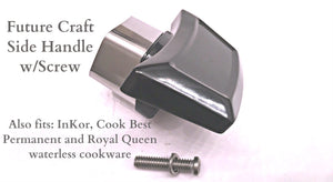 SIDE HANDLE w/flame guard for West Bend Future Craft, Cook Best, Inkor, Permanent, and Royal Queen waterless cookware replacement parts.