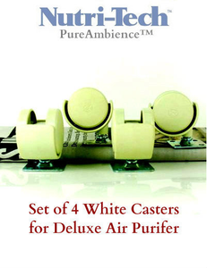 Set of 4 White CASTERS for Pure Ambience / Nutri-Tech Deluxe Air Purifier
