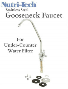 Nutri-Tech® Stainless Steel Gooseneck Faucet for under-counter water filter