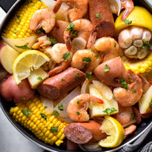 Load image into Gallery viewer, NEW 30 Qt. STOCKPOT w/Vapor Vent & STEAMER BASKET - 7Ply 304 Magnetic Surgical Stainless Steel - See Seafood Boil Recipe