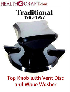 Black Traditional Top Knob and Vent Disc w/wave washer