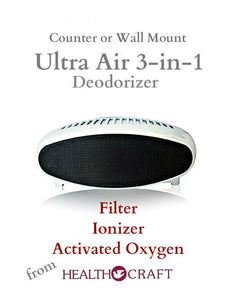 Ultra Air 3-in-1 Deodorizer - Counter top or wall mount - 110v - 220v and 12v cord
