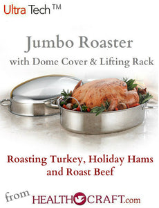 Ultra-Tech Jumbo Roaster with Dome Lid and Lifting Rack