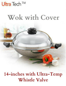 Ultra Tech Wok with Cover with Temperature Control Whistle Valve