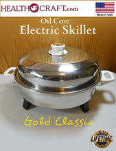 "Load image into Gallery viewer, White Gold Classic 12"" Oil Core Electric Skillet w/ Exclusive Vented Dome Lid - Display Unit"