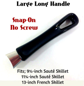 Black Silver Classic Large Long Handle fits 9½  11¼  13 inch Skillet - Snap-on No Screw
