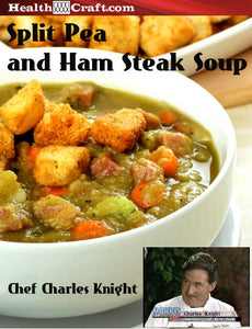 Split Pea and Ham Steak Soup with homemade deep fried Croutons